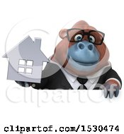 3d Business Orangutan Monkey Holding A House On A White Background