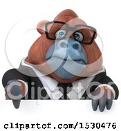 3d Business Orangutan Monkey Holding A Thumb Down On A White Background