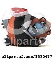 3d Business Orangutan Monkey Holding A Steak On A White Background