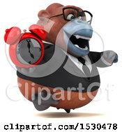 3d Business Orangutan Monkey Holding A Clock On A White Background