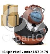 3d Business Orangutan Monkey Holding Boxes On A White Background