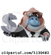3d Business Orangutan Monkey Holding A Dollar Sign On A White Background