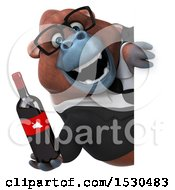 3d Business Orangutan Monkey Holding Wine On A White Background
