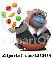 3d Business Orangutan Monkey Holding Produce On A White Background