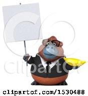 3d Business Orangutan Monkey Holding A Banana On A White Background