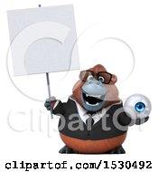 3d Business Orangutan Monkey Holding An Eye On A White Background