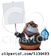 3d Business Orangutan Monkey Holding A Water Drop On A White Background