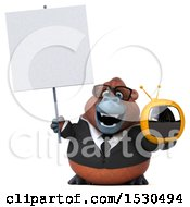 3d Business Orangutan Monkey Holding A Tv On A White Background