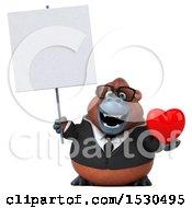 3d Business Orangutan Monkey Holding A Heart On A White Background