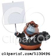 3d Business Orangutan Monkey Holding A Camera On A White Background