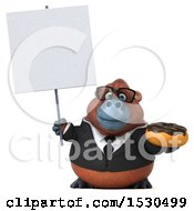 3d Business Orangutan Monkey Holding A Donut On A White Background