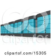 Wall Of Blue Computer Server Towers Clipart Illustration Image
