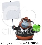 3d Business Orangutan Monkey Holding A Gas Can On A White Background