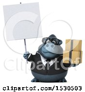 Clipart Of A 3d Business Gorilla Mascot Holding Boxes On A White Background Royalty Free Illustration