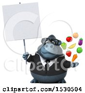 3d Business Gorilla Mascot Holding Produce On A White Background