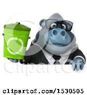 3d Business Gorilla Mascot Holding A Recycle Bin On A White Background