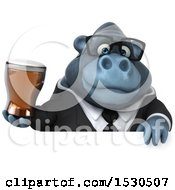 Poster, Art Print Of 3d Business Gorilla Mascot Holding A Beer On A White Background