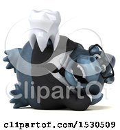 3d Business Gorilla Mascot Holding A Tooth On A White Background