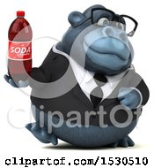 3d Business Gorilla Mascot Holding A Soda On A White Background