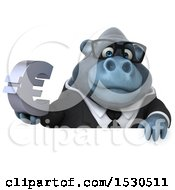 3d Business Gorilla Mascot Holding A Euro On A White Background