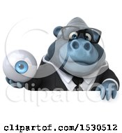 3d Business Gorilla Mascot Holding An Eye On A White Background
