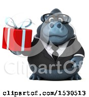 3d Business Gorilla Mascot Holding A Gift On A White Background