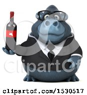 3d Business Gorilla Mascot Holding Wine On A White Background