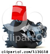 3d Business Gorilla Mascot Holding A Shopping Bag On A White Background