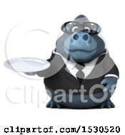 3d Business Gorilla Mascot Holding A Plate On A White Background