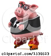 3d Chubby Business Pig Roller Blading On A White Background