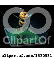 3d Smart Phone With A Bee Emerging From The Screen