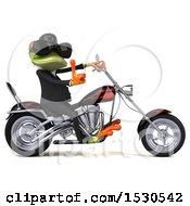 Clipart Of A 3d Green Frog Biker On A Chopper Motorcycle Royalty Free Illustration