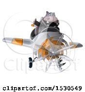 3d Hippo Flying A Plane On A White Background