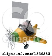 3d Business Hippo Flying A Plane On A White Background