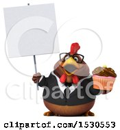 3d Chubby Brown Business Chicken Holding A Cupcake On A White Background