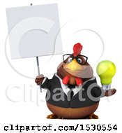 3d Chubby Brown Business Chicken Holding A Light Bulb On A White Background