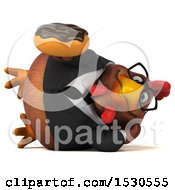 3d Chubby Brown Business Chicken Holding A Donut On A White Background