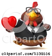3d Chubby Brown Business Chicken Holding A Heart On A White Background