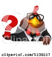 3d Chubby Brown Business Chicken Holding A Question Mark On A White Background