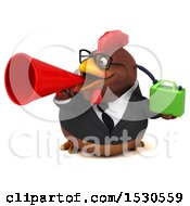 3d Chubby Brown Business Chicken Holding A Gas Can On A White Background