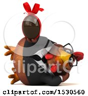 3d Chubby Brown Business Chicken Holding A Chocolate Egg On A White Background