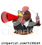 3d Chubby Brown Business Chicken Holding Wine On A White Background
