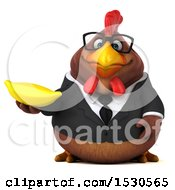 3d Chubby Brown Business Chicken Holding A Banana On A White Background