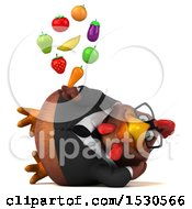 Clipart Of A 3d Chubby Brown Business Chicken Holding Produce On A White Background Royalty Free Illustration