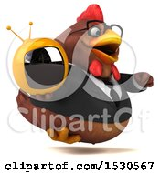 3d Chubby Brown Business Chicken Holding A Tv On A White Background
