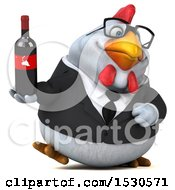 3d Chubby White Business Chicken Holding Wine On A White Background