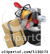 3d Chubby White Business Chicken Holding Boxes On A White Background