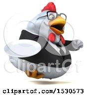 3d Chubby White Business Chicken Holding A Plate On A White Background