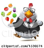 3d Chubby White Business Chicken Holding Produce On A White Background