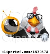 3d Chubby White Business Chicken Holding A Tv On A White Background